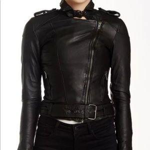 Muubaa Women's Asha Black Leather Bomber Jacket